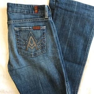7FAMK a pocket bootcut jeans, hemmed to 29.5""